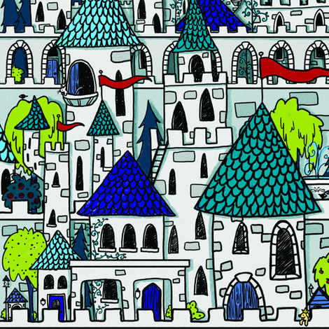 Blue Castle Kingdom fabric by celestegs on Spoonflower - custom fabric