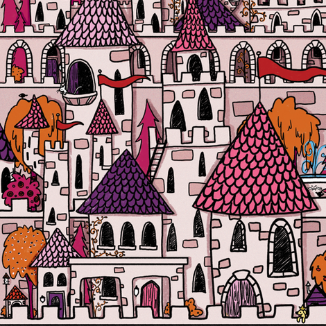 Pink Castle fabric by celestegs on Spoonflower - custom fabric