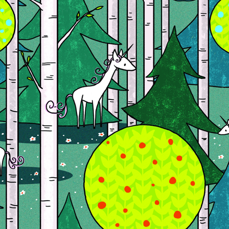 Enchanted Forest Unicorn fabric by celestegs on Spoonflower - custom fabric