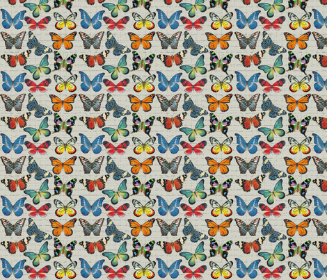 Sm Butterflies on Grey fabric by angelaanderson on Spoonflower - custom fabric