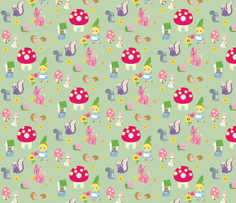 Gnome Girl with Forest Animals fabric by fantastictoys on Spoonflower - custom fabric