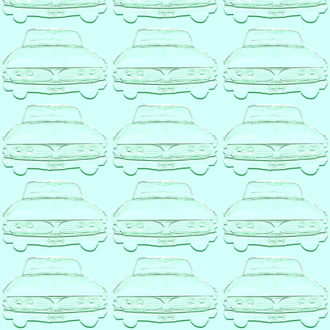 Aqua 1960 Edsel front in shadows fabric by edsel2084 on Spoonflower - custom fabric