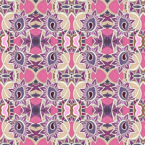 Stained glass garden in magenta fabric by edsel2084 on Spoonflower - custom fabric