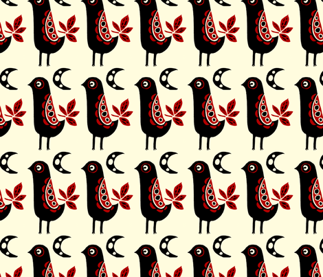 Folk Bird fabric by corinnevail on Spoonflower - custom fabric