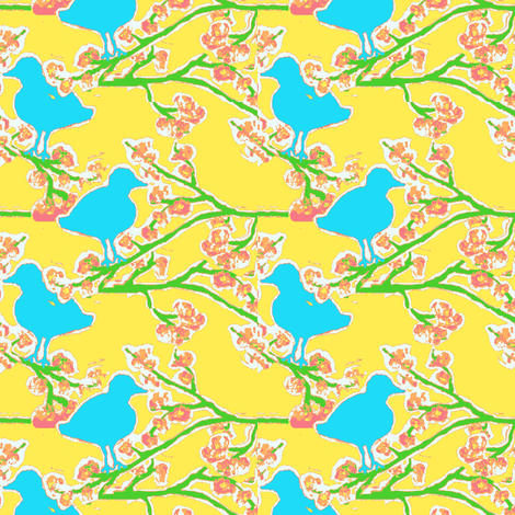 bubblegum blossoms and blue bird ©2012 Jill Bull fabric by palmrowprints on Spoonflower - custom fabric