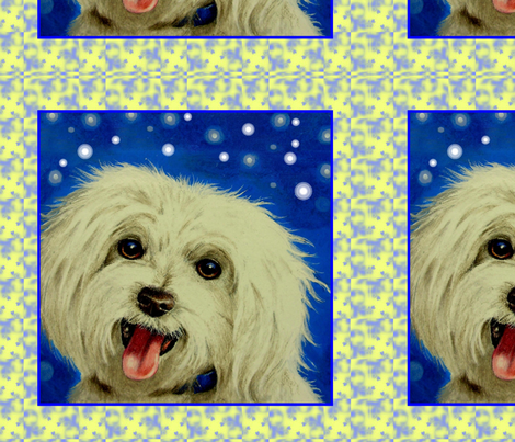 Maltese Pup fabric by melody_lea_lamb on Spoonflower - custom fabric