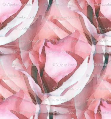 Art nouveau pink rose