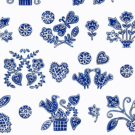 PrettyBlue fabric by yellowstudio on Spoonflower - custom fabric