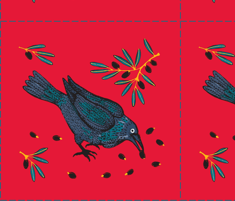 Raven&Olives fabric by yellowstudio on Spoonflower - custom fabric