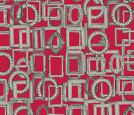 picture frames aplenty bone red fabric by scrummy on Spoonflower - custom fabric