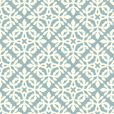 SOFT-AQUA_&_cream_mini-papercut fabric by mina on Spoonflower - custom fabric