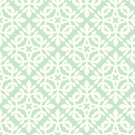 LIGHT GREEN & cream mini-papercut2 fabric by mina on Spoonflower - custom fabric