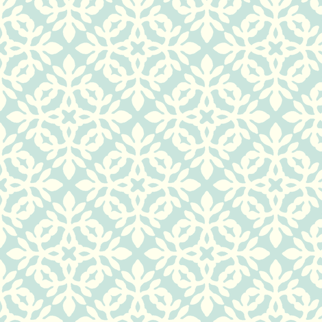 SEAFOAM & cream mini-papercut2  fabric by mina on Spoonflower - custom fabric