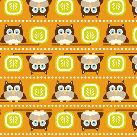 Owl Town Orange fabric by heatherdutton on Spoonflower - custom fabric