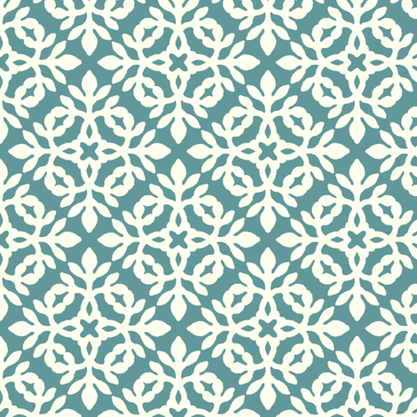 BLUE-GREEN & cream mini-papercut2 fabric by mina on Spoonflower - custom fabric