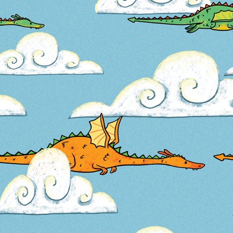 Dragons Flying  fabric by celestegs on Spoonflower - custom fabric