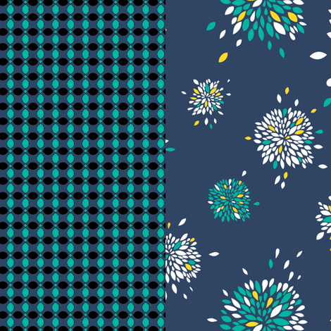 flowers_dark_blue fabric by oohoo on Spoonflower - custom fabric