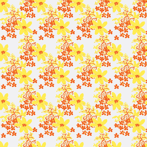 tiger lilly and daisy lemon ©2012 Jill Bull fabric by fabricfarmer_by_jill_bull on Spoonflower - custom fabric