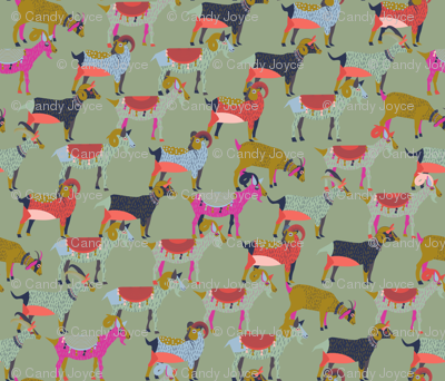 Fancy Goats on Dusty Green