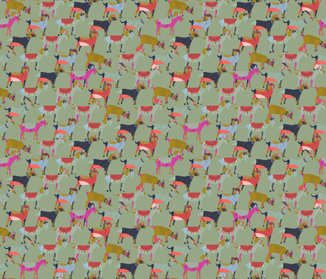 Fancy Goats on Dusty Green fabric by candyjoyce on Spoonflower - custom fabric
