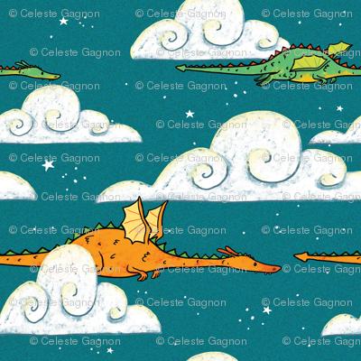 Dragons Flying at night