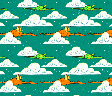 Dragons Flying at night fabric by celestegs on Spoonflower - custom fabric