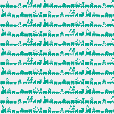 Green Trains fabric by boris_thumbkin on Spoonflower - custom fabric