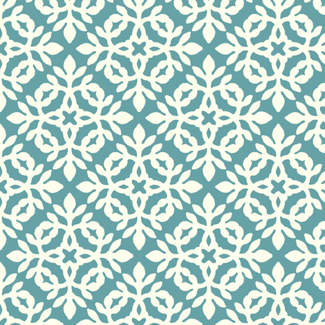 RICH TURQUOISE & CREAM mini-papercut2 fabric by mina on Spoonflower - custom fabric
