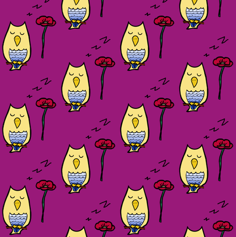 Flora and Owl fabric by pond_ripple on Spoonflower - custom fabric
