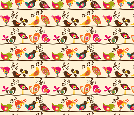 Singing Birds fabric by valentinaharper on Spoonflower - custom fabric