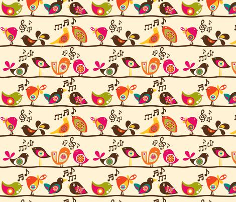 Singing Birds fabric by valentinaharper on Spoonflower - custom fabric
