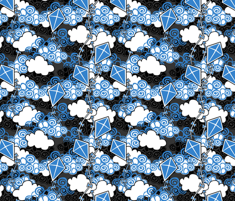 ©2011 go fly a kite bleu fabric by glimmericks on Spoonflower - custom fabric
