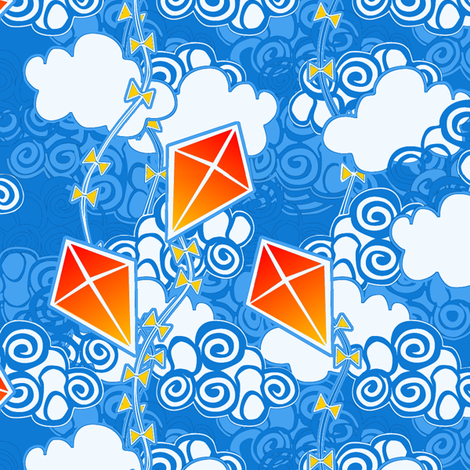 ©2011 go fly a kite bright sky fabric by glimmericks on Spoonflower - custom fabric