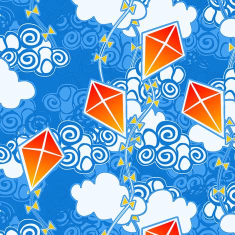 ©2011 go fly a kite bright sky fabric by glimmericks on Spoonflower - custom fabric