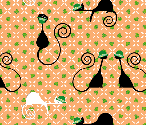 Leprechaun Cats fabric by jumping_monkeys on Spoonflower - custom fabric