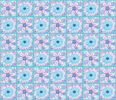 Flower Squares - Two Flower Patchwork fabric by tallulahdahling on Spoonflower - custom fabric