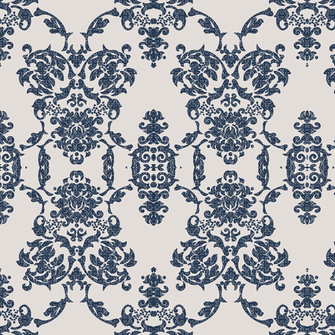 Lace damask jewel- blue bone
