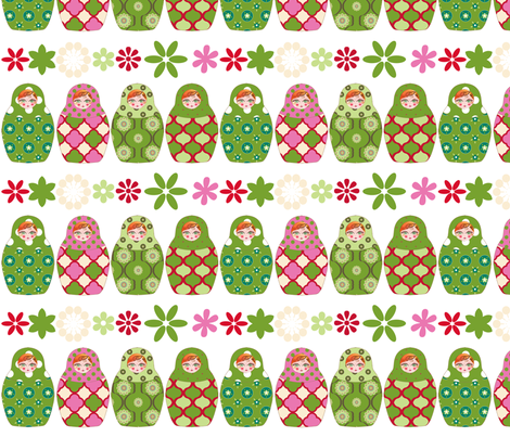 poupée_russe_graphic_vick_vert fabric by nadja_petremand on Spoonflower - custom fabric