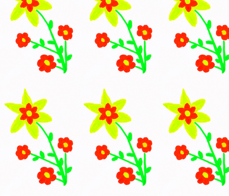Flora Flower Sunny fabric by angelgreen on Spoonflower - custom fabric