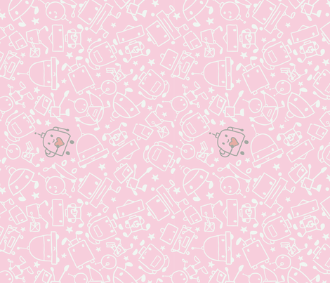I Heart Robots Pink fabric by drbadjen on Spoonflower - custom fabric