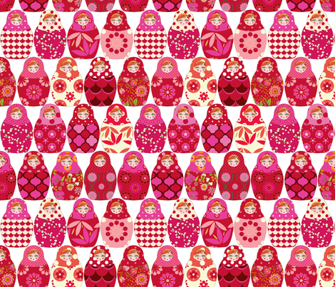 poupée_russe_Vick_rouge_rose_M fabric by nadja_petremand on Spoonflower - custom fabric