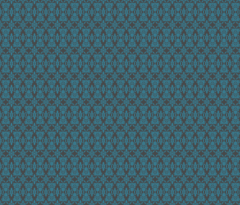 Lace damask turquoise small