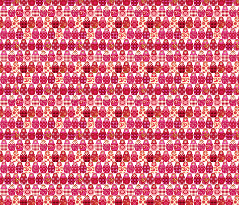 poupée_russe_Vick_rouge_rose_S fabric by nadja_petremand on Spoonflower - custom fabric