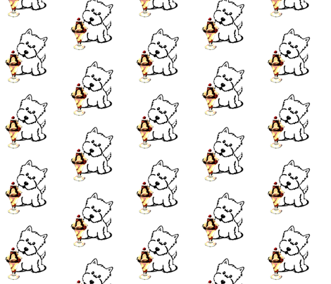 Westie with Ice Cream fabric by altrincham on Spoonflower - custom fabric