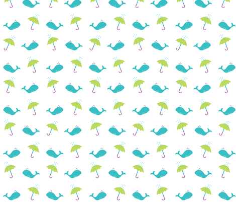 Whales & Umbrellas fabric by ellolovey on Spoonflower - custom fabric