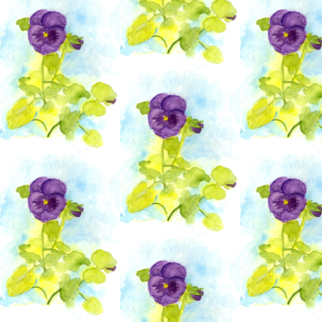 Purple Pansy Watercolor fabric by countrygarden on Spoonflower - custom fabric