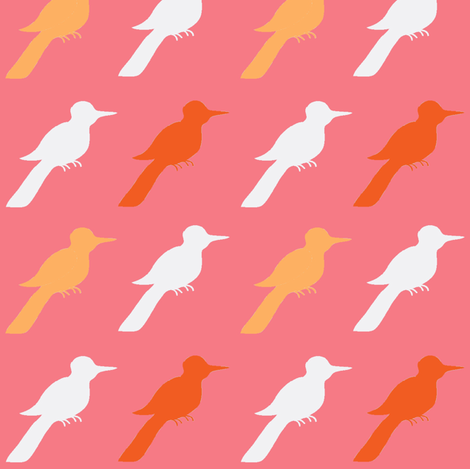 bubblegum bird ©2012 Jill Bull fabric by fabricfarmer_by_jill_bull on Spoonflower - custom fabric