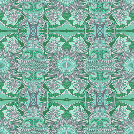 Tribal Flowers green fabric by edsel2084 on Spoonflower - custom fabric