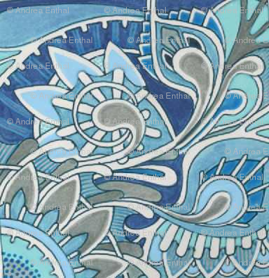 Tribal flowers blue