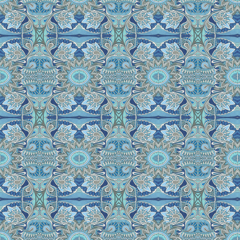 Tribal flowers blue fabric by edsel2084 on Spoonflower - custom fabric